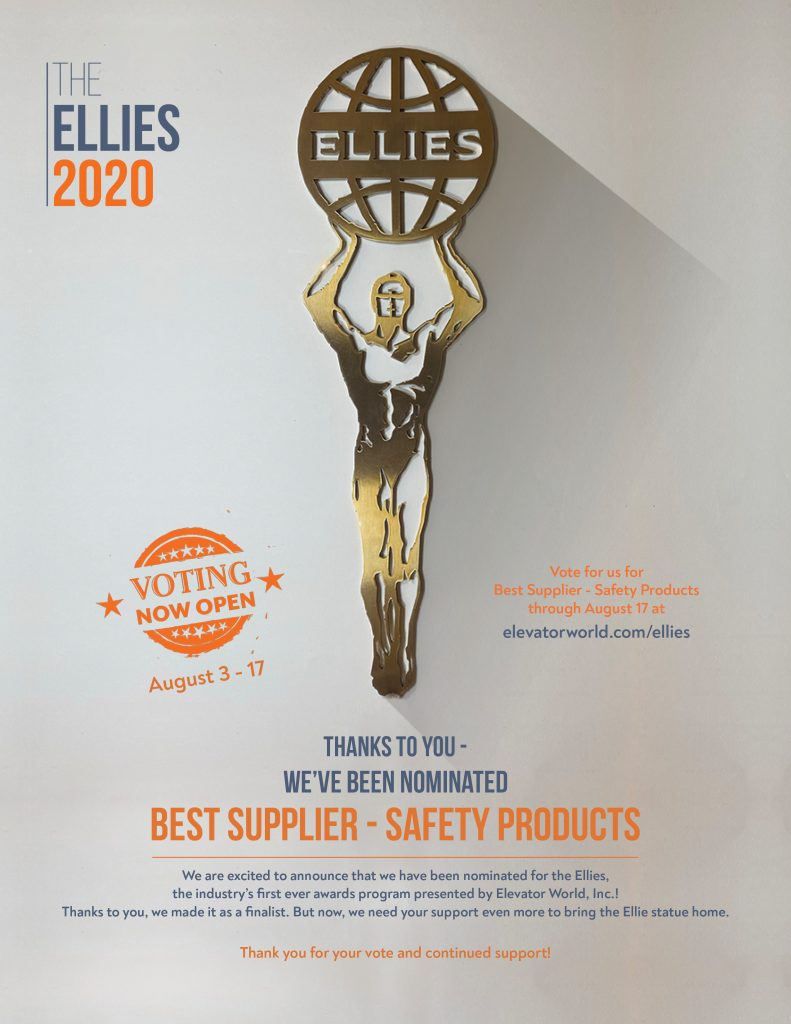 "EHC Nominated for Elevator World 2020 Ellies Award Category, ""Best Supplier – Safety Products"""
