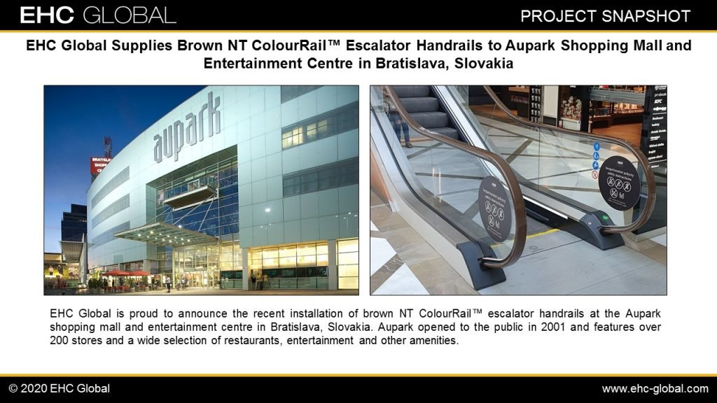 EHC Brown NT ColourRail™ Escalator Handrails Aupark Mall in Bratislava, Slovakia First