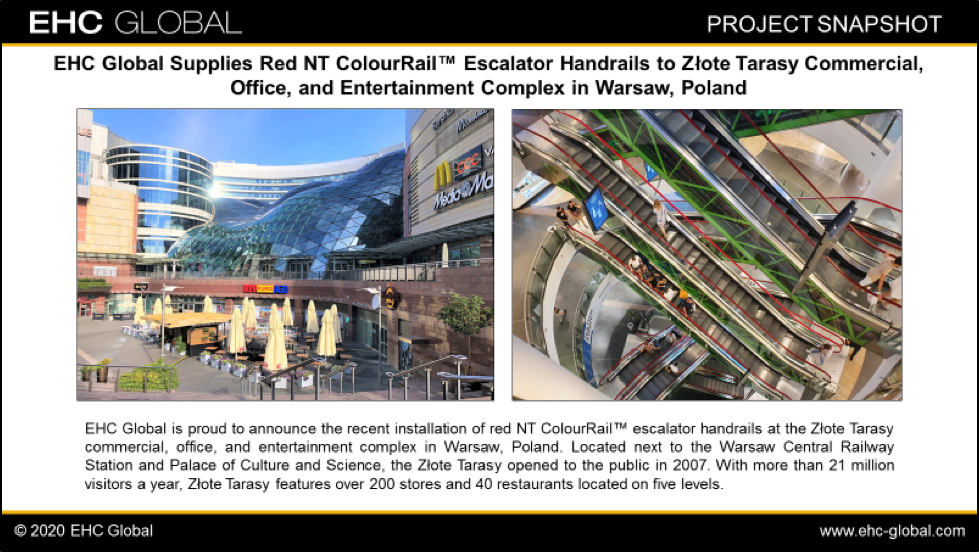 EHC Global Supplies Red NT ColourRail Escalator Handrails to Zlote Tarasy Commercial, Office, and Entertainment Complex in Warsaw, Poland