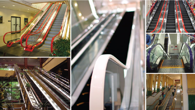 Product Image Custom Colour Escalator Handrail Projects By EHC Global - Red - White - Gold - Purple